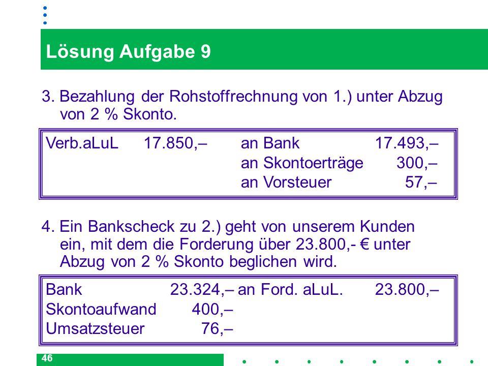 Lösung Aufgabe 93. Bezahlung der Rohstoffrechnung von 1.) unter Abzug von 2 % Skonto.