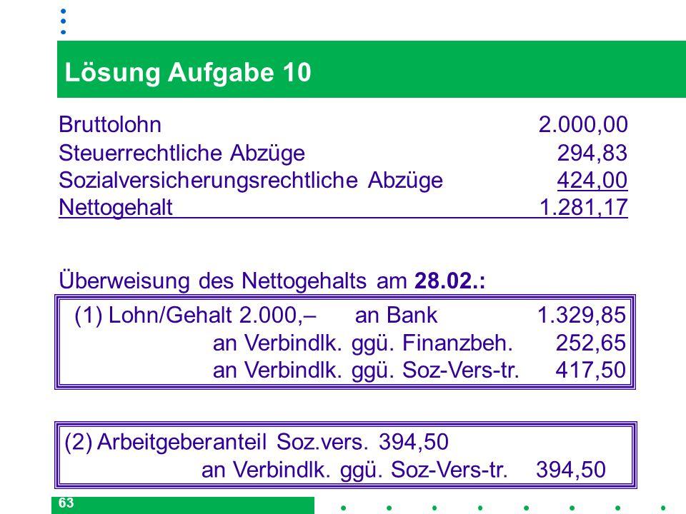 Lösung Aufgabe 10 Bruttolohn 2.000,00 Steuerrechtliche Abzüge 294,83