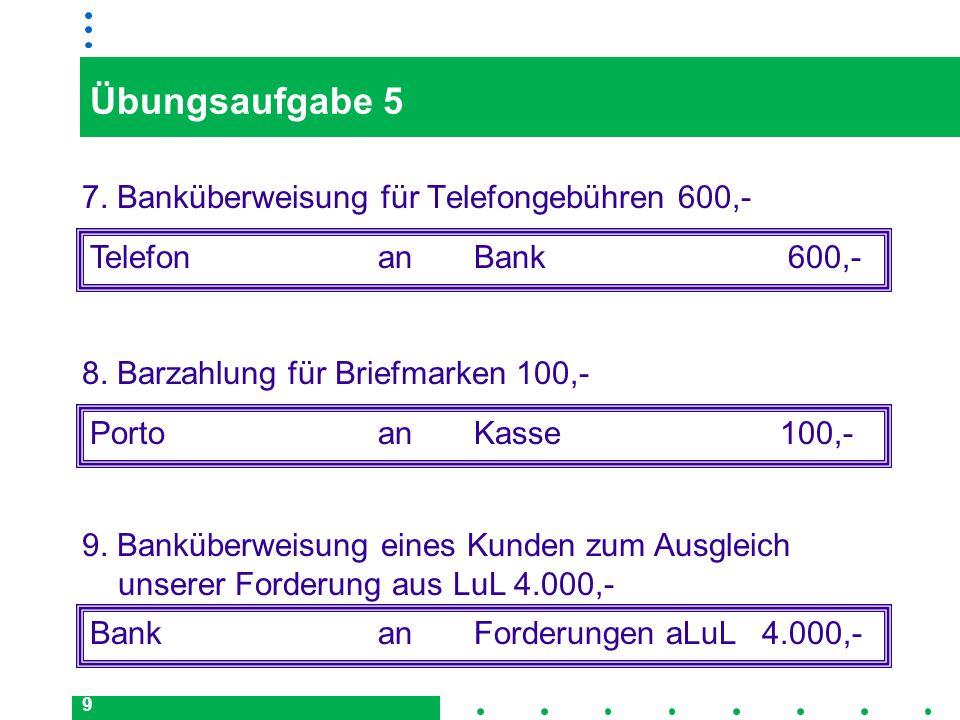 Übungsaufgabe 5 7. Banküberweisung für Telefongebühren 600,-