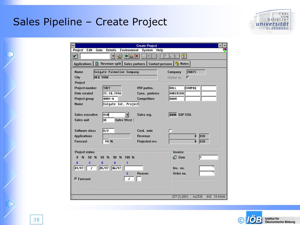 Sales Pipeline – Create Project
