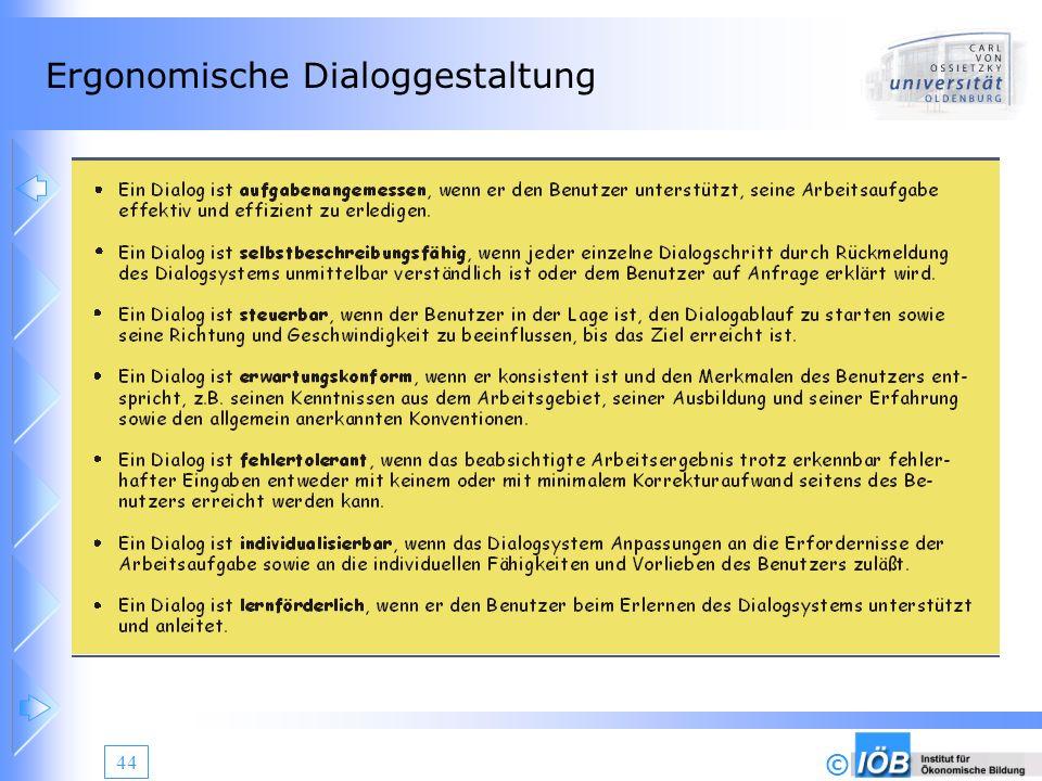 Ergonomische Dialoggestaltung