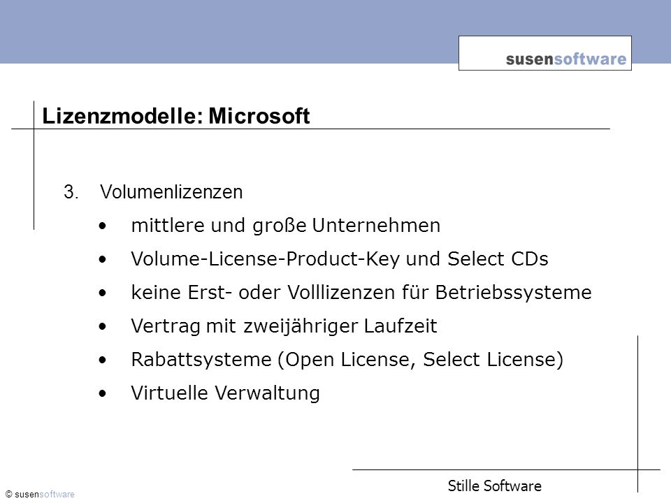 Lizenzmodelle: Microsoft