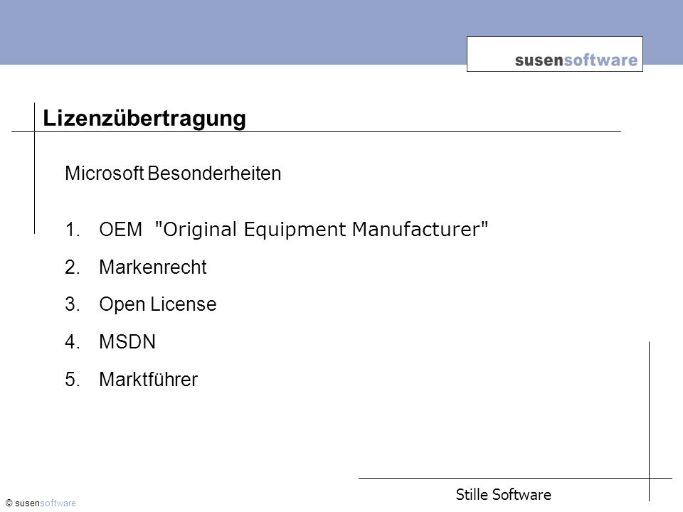 Lizenzübertragung Microsoft Besonderheiten