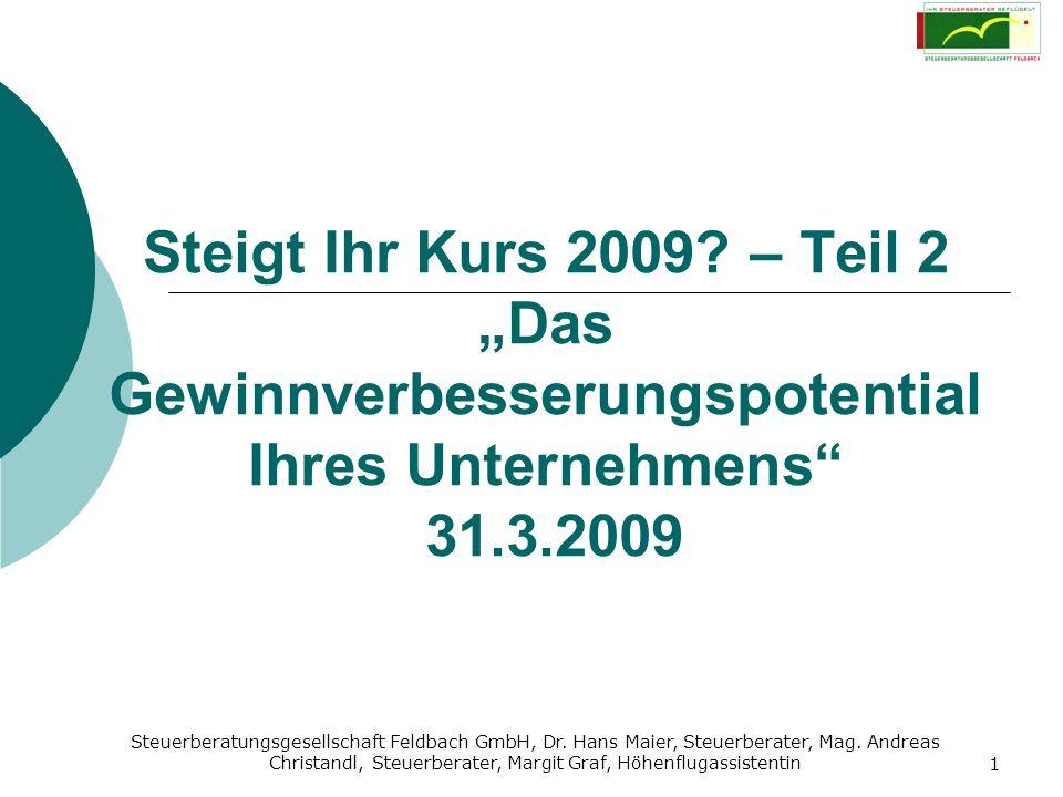 """Steigt Ihr Kurs 2009 – Teil 2 """"Das Gewinnverbesserungspotential Ihres Unternehmens 31.3.2009"""