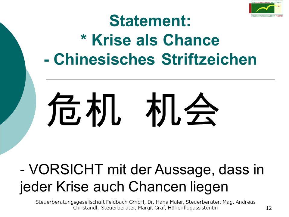 Statement: * Krise als Chance - Chinesisches Striftzeichen