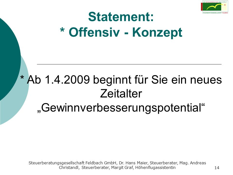 Statement: * Offensiv - Konzept