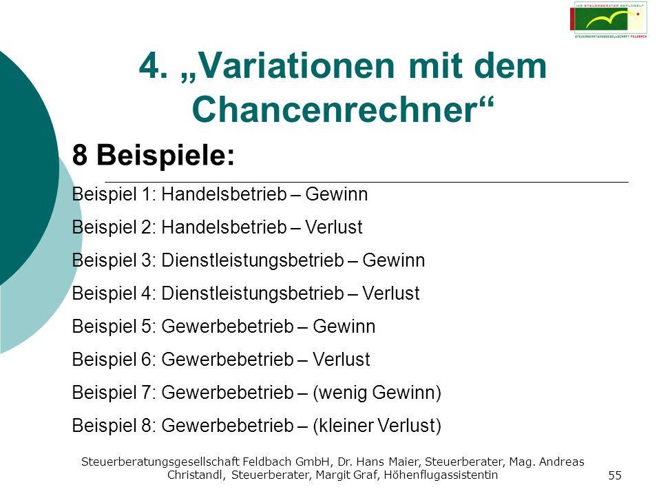"""4. """"Variationen mit dem Chancenrechner"""