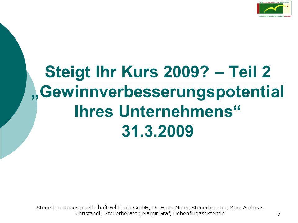 """Steigt Ihr Kurs 2009 – Teil 2 """"Gewinnverbesserungspotential Ihres Unternehmens 31.3.2009"""