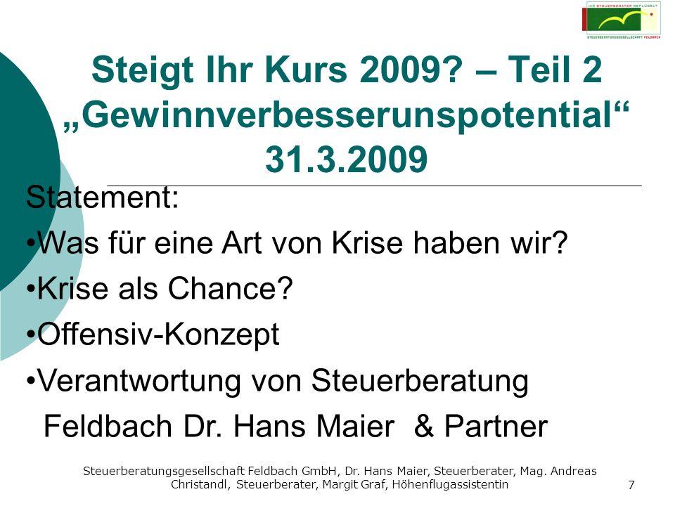 """Steigt Ihr Kurs 2009 – Teil 2 """"Gewinnverbesserunspotential 31.3.2009"""
