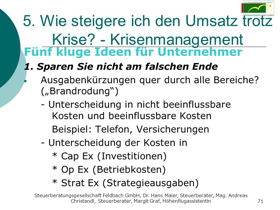 5. Wie steigere ich den Umsatz trotz Krise - Krisenmanagement