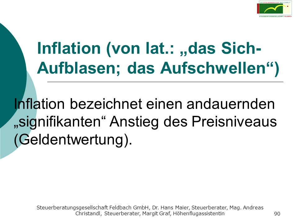 """Inflation (von lat.: """"das Sich-Aufblasen; das Aufschwellen )"""