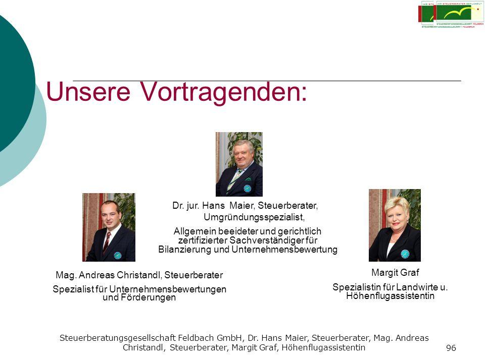 Unsere Vortragenden: Dr. jur. Hans Maier, Steuerberater, Margit Graf