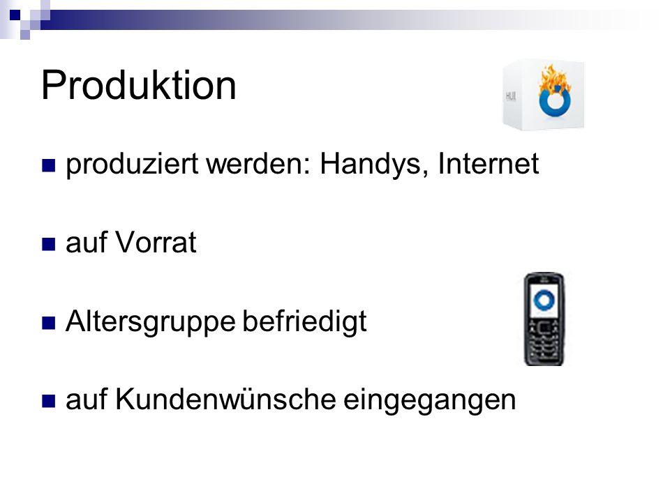 Produktion produziert werden: Handys, Internet auf Vorrat
