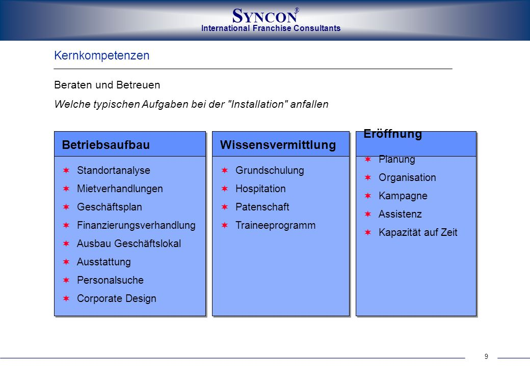 Eröffnung Betriebsaufbau Wissensvermittlung Kernkompetenzen