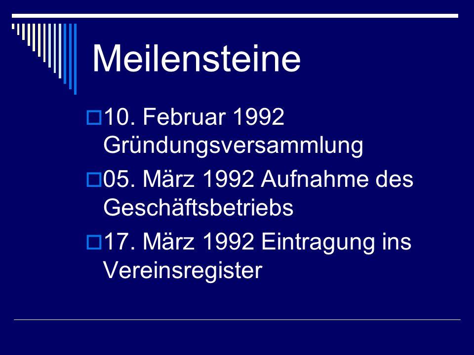 Meilensteine 10. Februar 1992 Gründungsversammlung