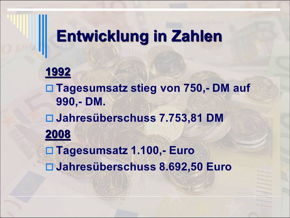 Entwicklung in Zahlen 1992. Tagesumsatz stieg von 750,- DM auf 990,- DM. Jahresüberschuss 7.753,81 DM.