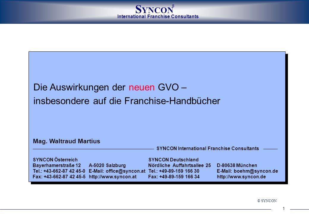 Die Auswirkungen der neuen GVO – insbesondere auf die Franchise-Handbücher