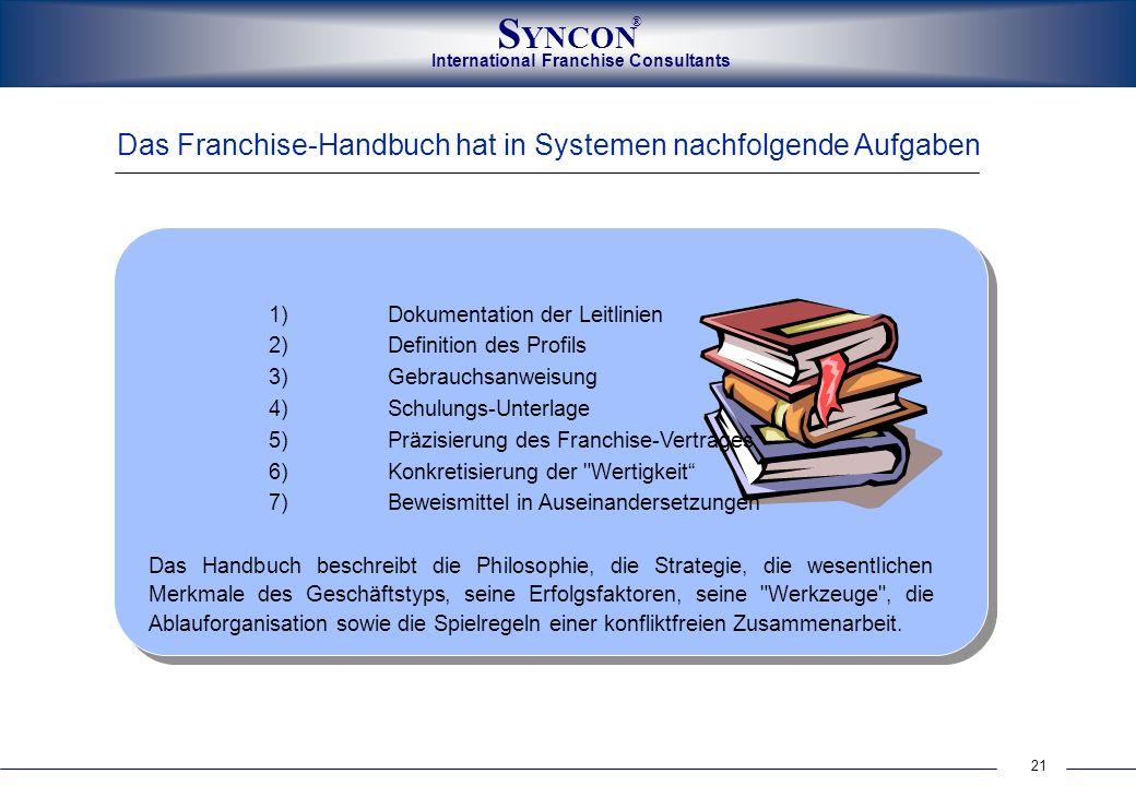 Das Franchise-Handbuch hat in Systemen nachfolgende Aufgaben