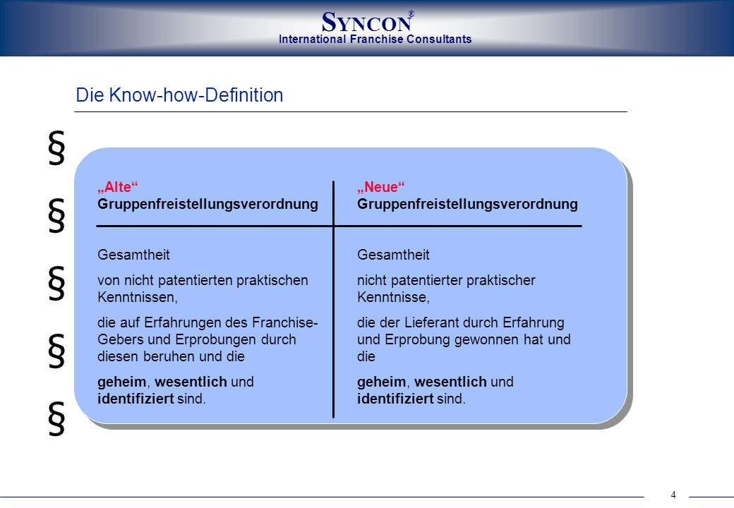 "§ Die Know-how-Definition ""Alte Gruppenfreistellungsverordnung"