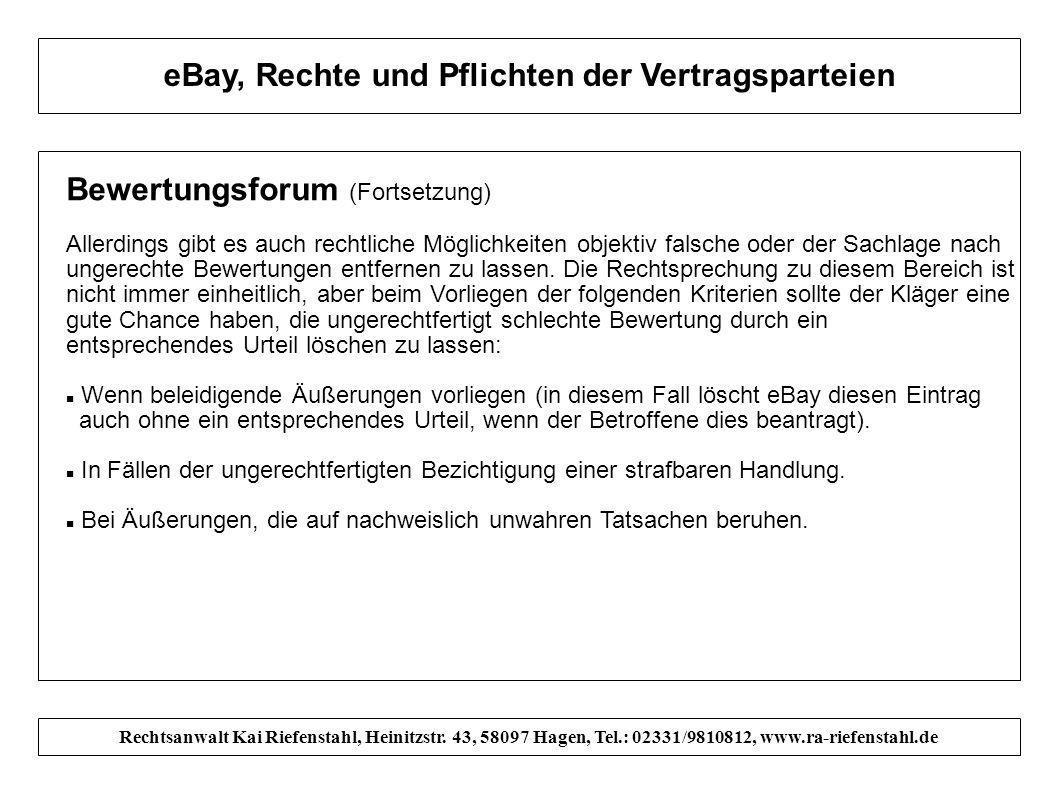 eBay, Rechte und Pflichten der Vertragsparteien