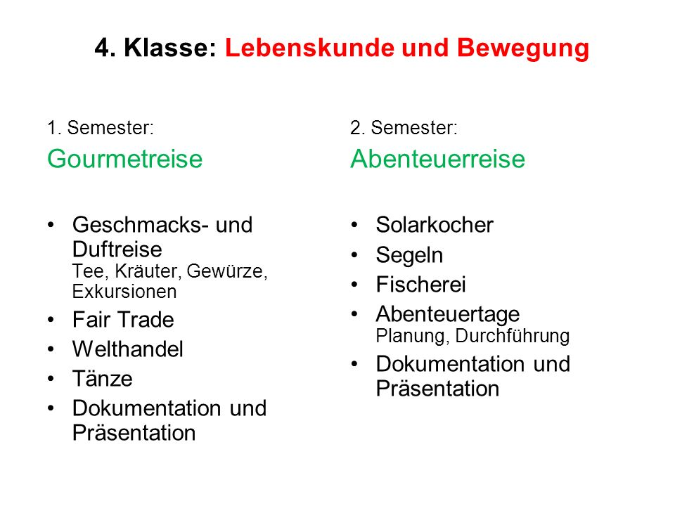 4. Klasse: Lebenskunde und Bewegung