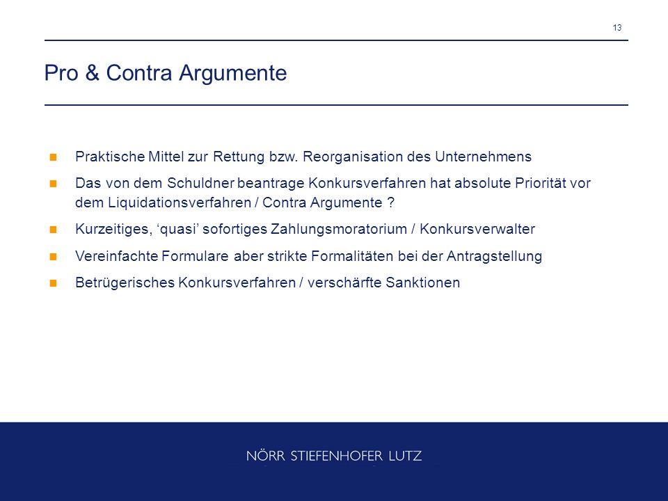 Pro & Contra Argumente Praktische Mittel zur Rettung bzw. Reorganisation des Unternehmens.