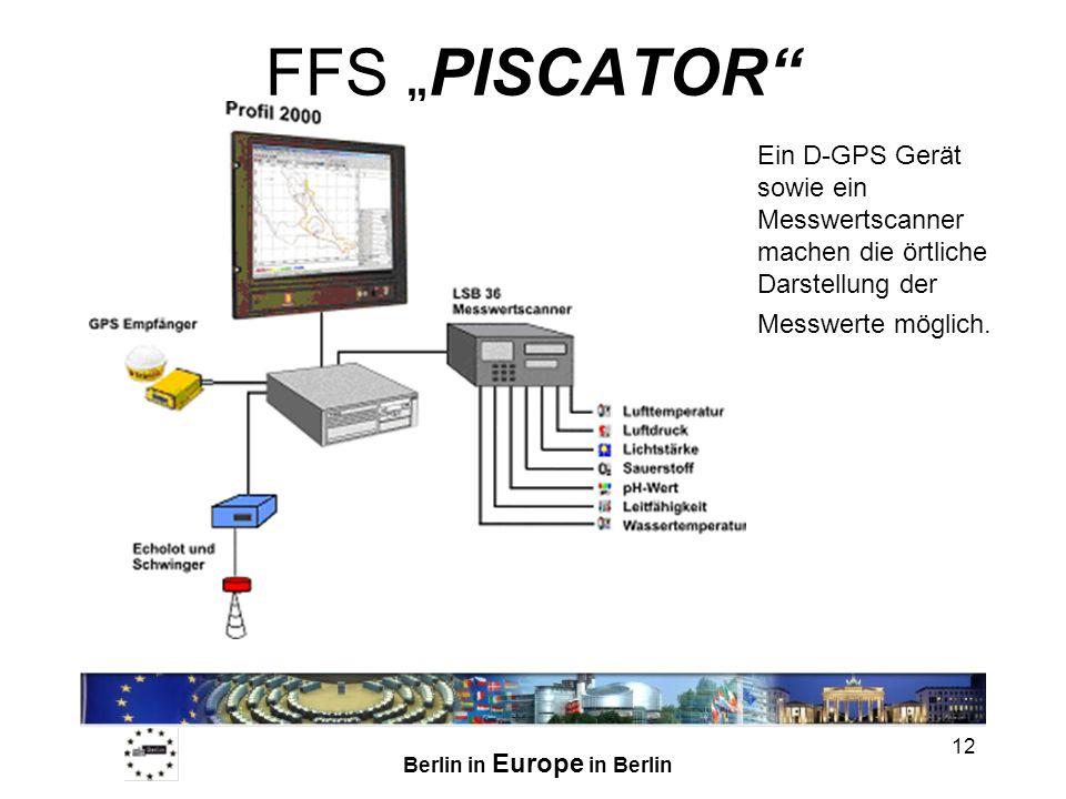 """FFS """"PISCATOR Ein D-GPS Gerät sowie ein Messwertscanner machen die örtliche Darstellung der Messwerte möglich."""