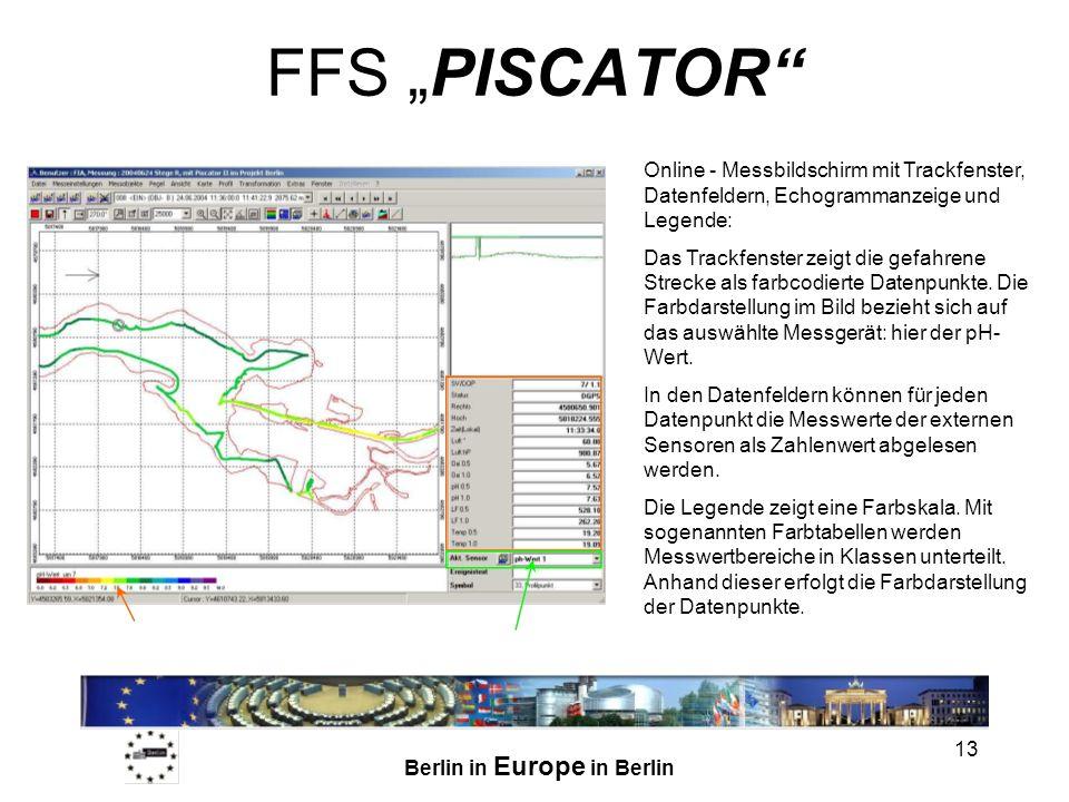 """FFS """"PISCATOR Online - Messbildschirm mit Trackfenster, Datenfeldern, Echogrammanzeige und Legende:"""