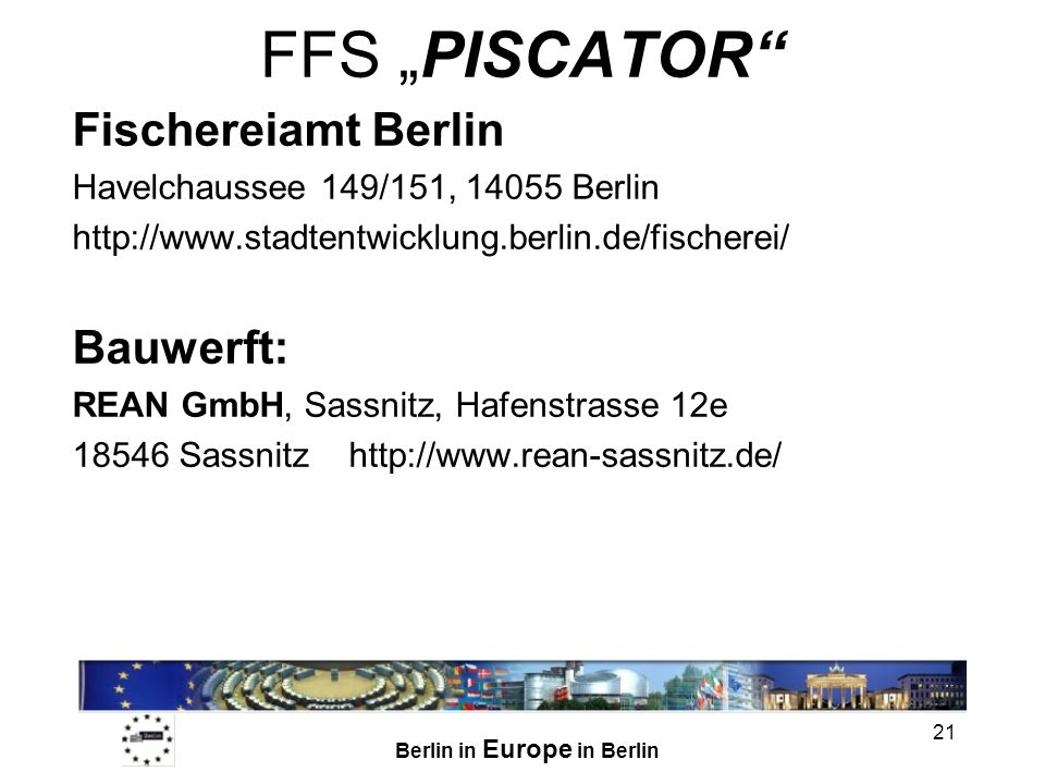 """FFS """"PISCATOR Fischereiamt Berlin Bauwerft:"""