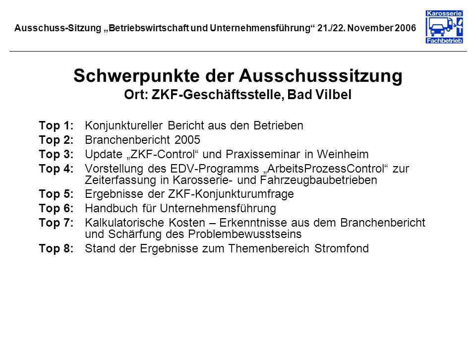 Schwerpunkte der Ausschusssitzung Ort: ZKF-Geschäftsstelle, Bad Vilbel