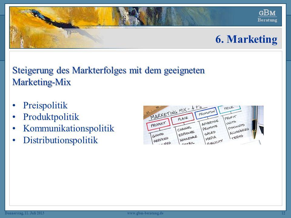 6. Marketing Steigerung des Markterfolges mit dem geeigneten