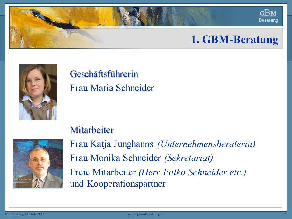 1. GBM-Beratung Geschäftsführerin Frau Maria Schneider Mitarbeiter