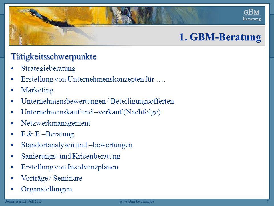 1. GBM-Beratung Tätigkeitsschwerpunkte Strategieberatung