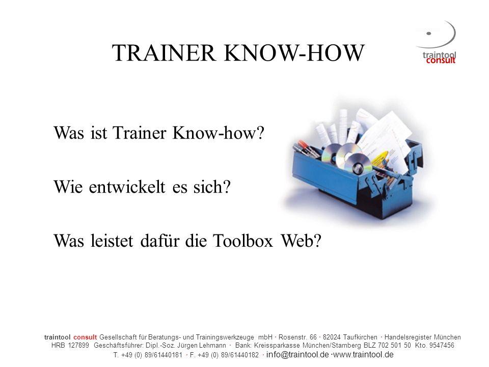TRAINER KNOW-HOW Was ist Trainer Know-how Wie entwickelt es sich