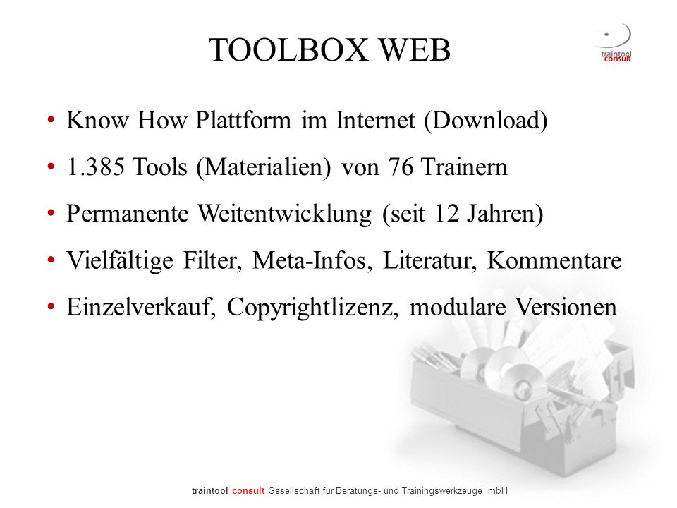 TOOLBOX WEB Know How Plattform im Internet (Download)