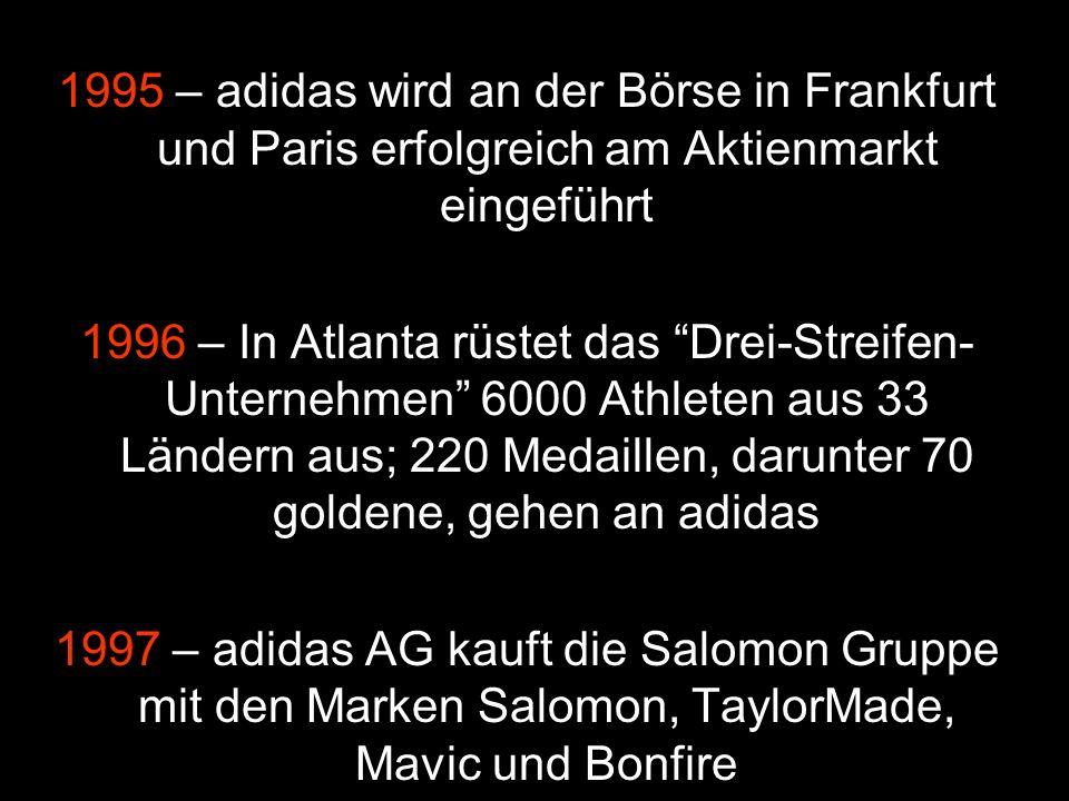 1995 – adidas wird an der Börse in Frankfurt und Paris erfolgreich am Aktienmarkt eingeführt