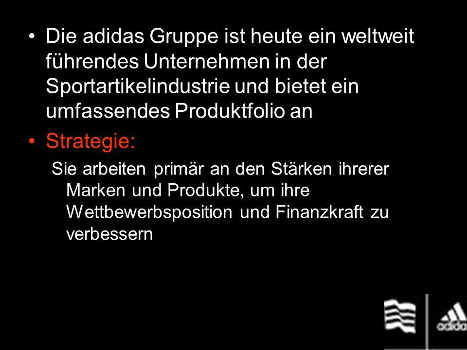 Die adidas Gruppe ist heute ein weltweit führendes Unternehmen in der Sportartikelindustrie und bietet ein umfassendes Produktfolio an