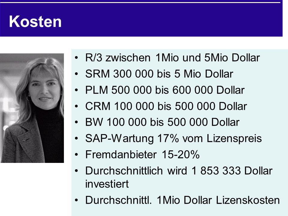 Kosten R/3 zwischen 1Mio und 5Mio Dollar SRM 300 000 bis 5 Mio Dollar