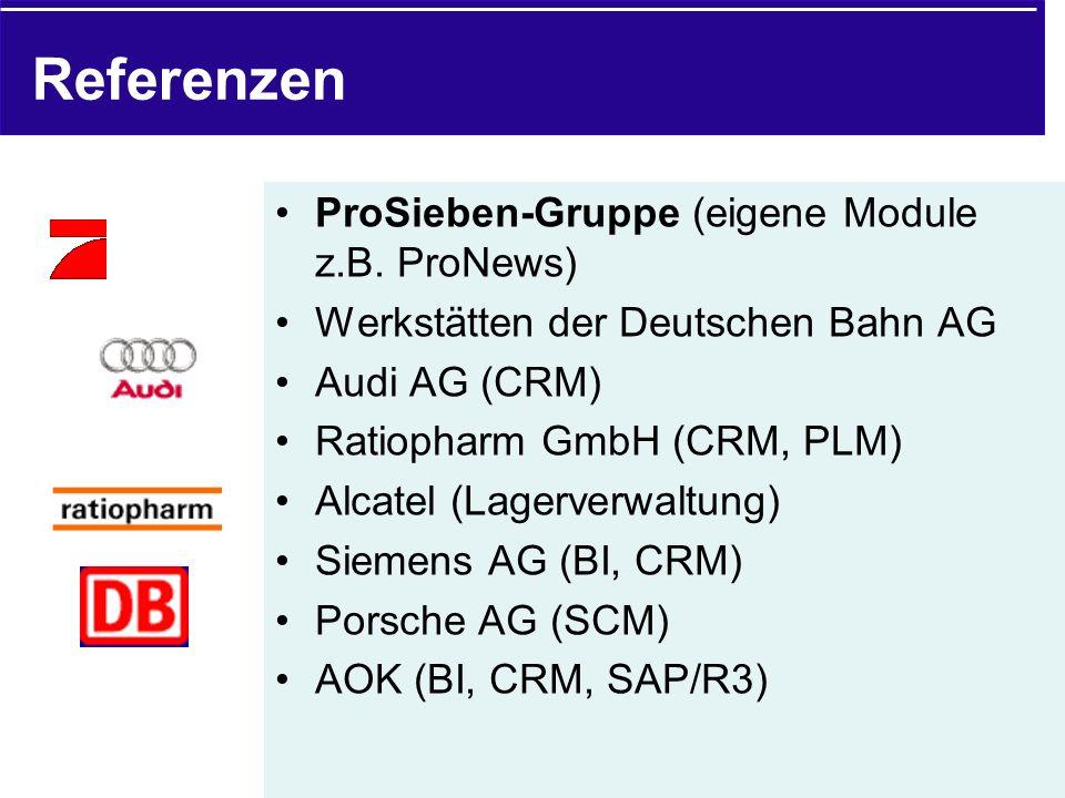 Referenzen ProSieben-Gruppe (eigene Module z.B. ProNews)