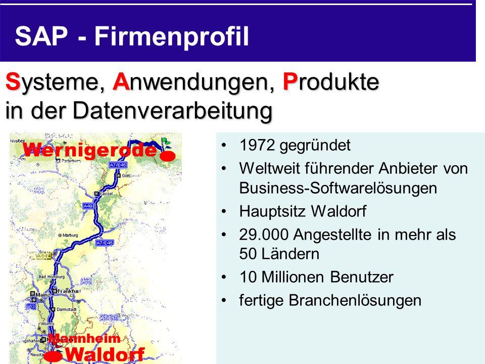 SAP - Firmenprofil Systeme, Anwendungen, Produkte in der Datenverarbeitung. 1972 gegründet.