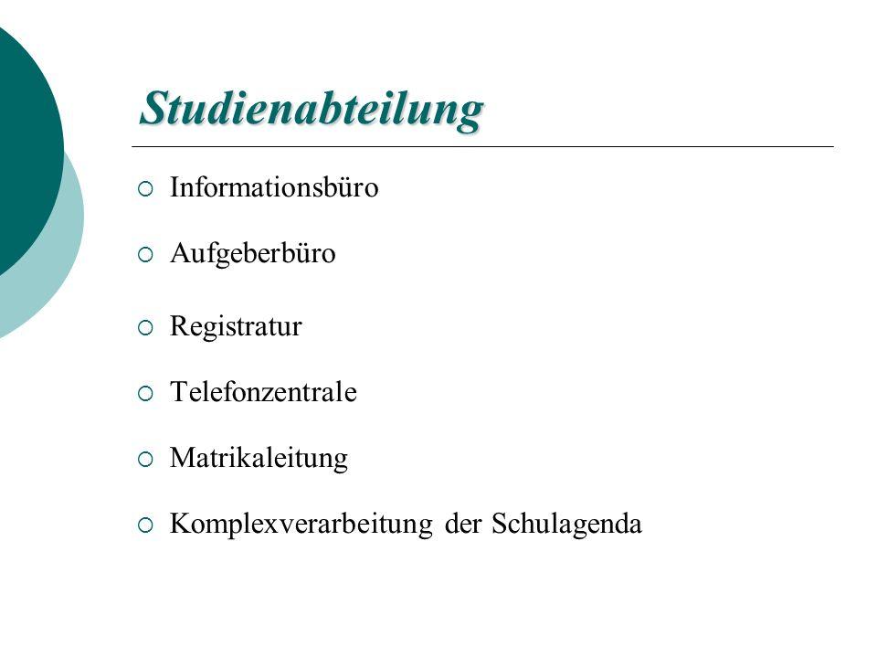 Studienabteilung Informationsbüro Aufgeberbüro Registratur