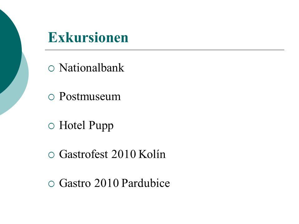 Exkursionen Nationalbank Postmuseum Hotel Pupp Gastrofest 2010 Kolín