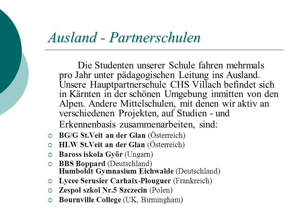 Ausland - Partnerschulen