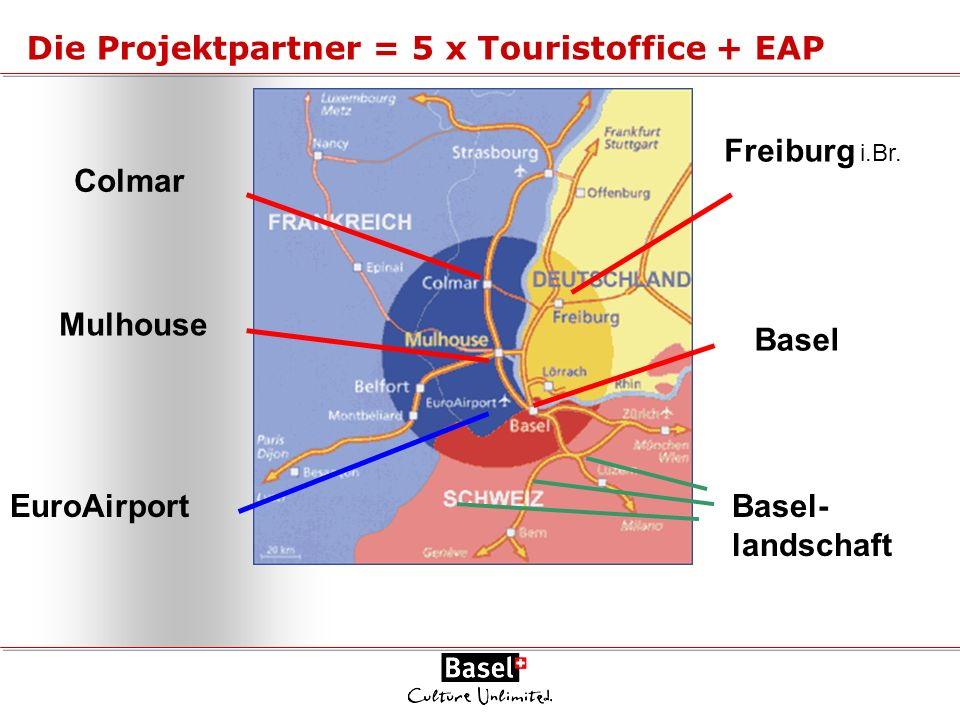 Die Projektpartner = 5 x Touristoffice + EAP