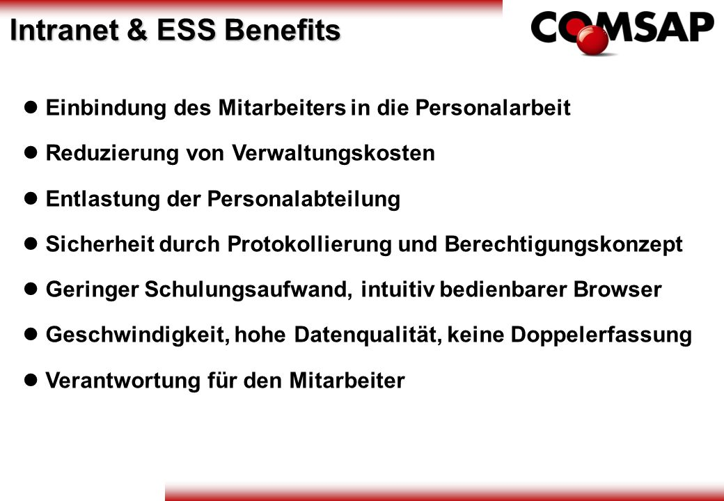 Intranet & ESS Benefits