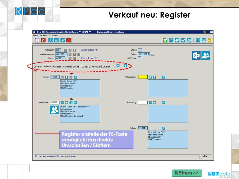 Verkauf neu: Register Register anstelle der F8-Taste