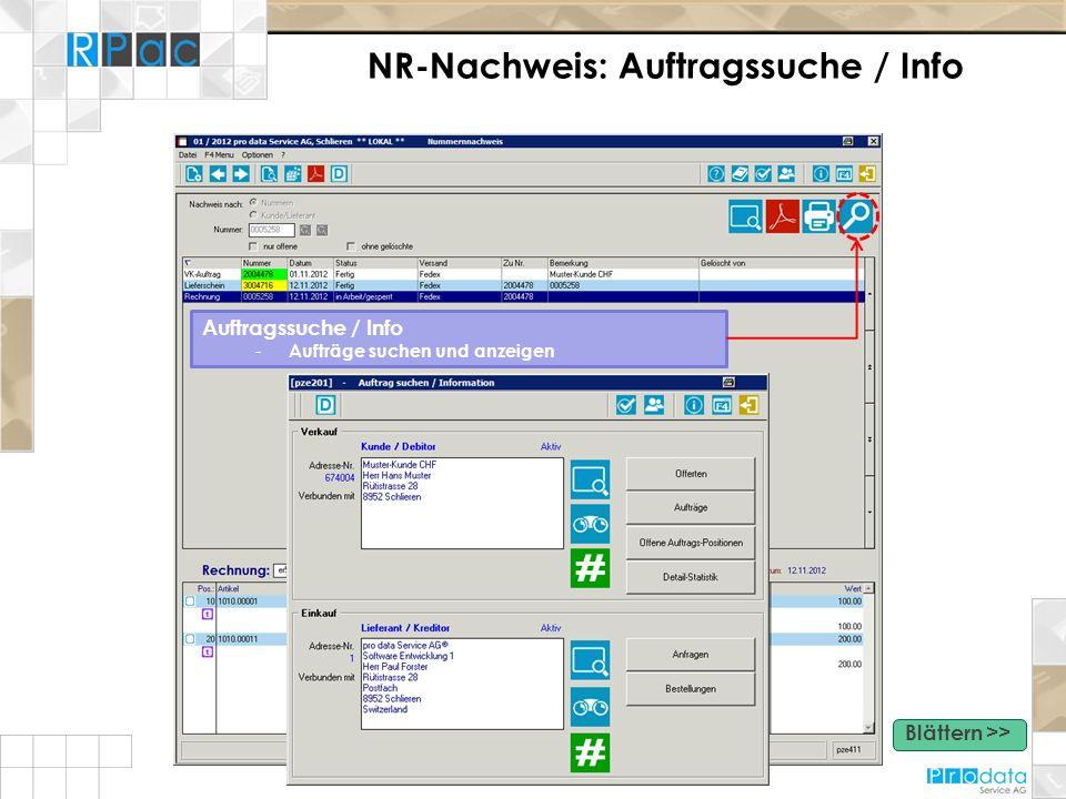 NR-Nachweis: Auftragssuche / Info