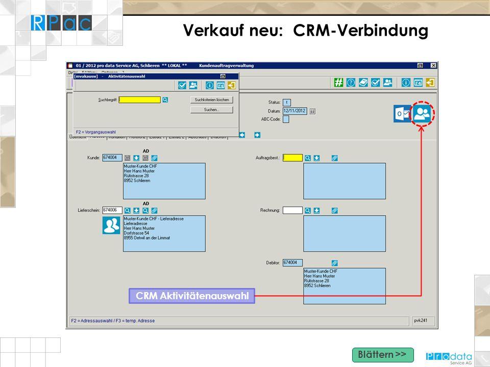 Verkauf neu: CRM-Verbindung