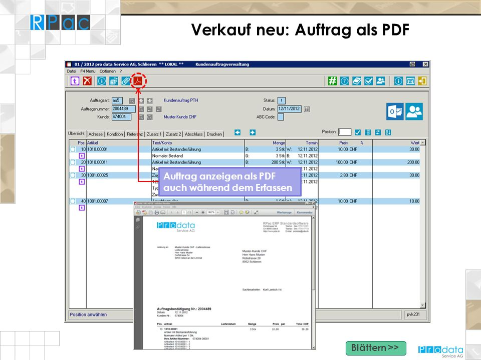 Verkauf neu: Auftrag als PDF