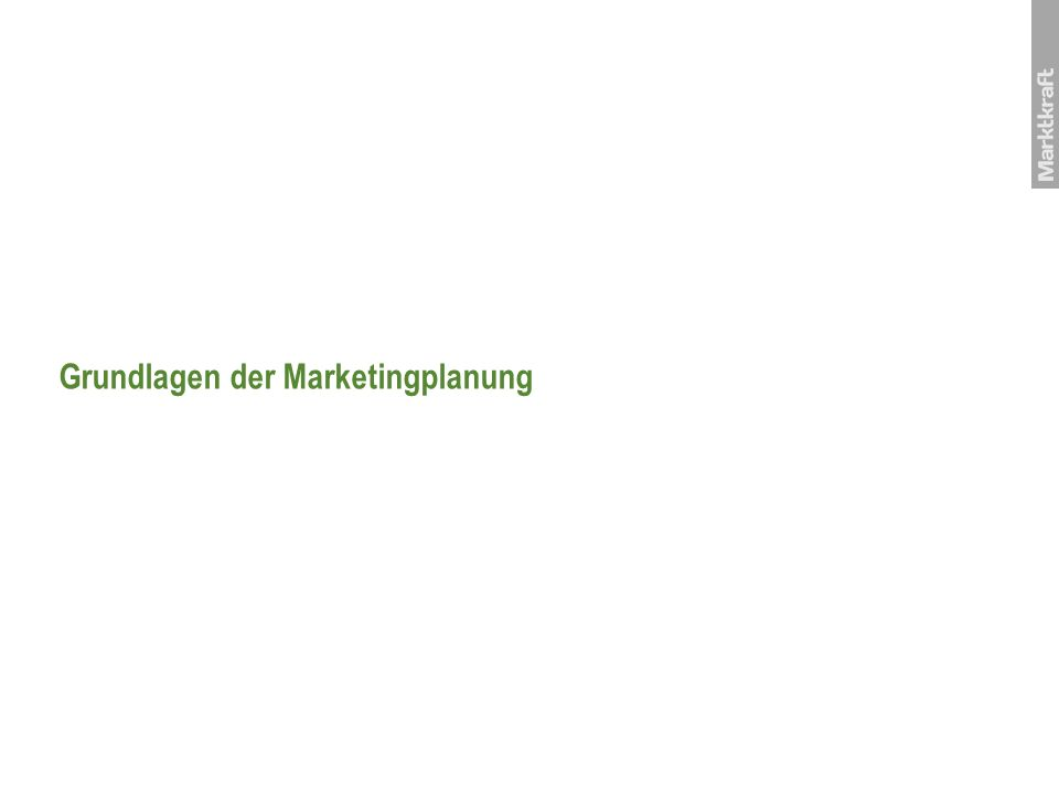 Grundlagen der Marketingplanung